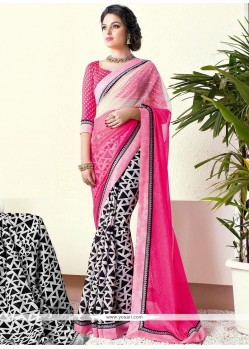 Off White And Pink Shaded Printed Saree