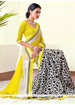 Off White And Yellow Shaded Printed Saree