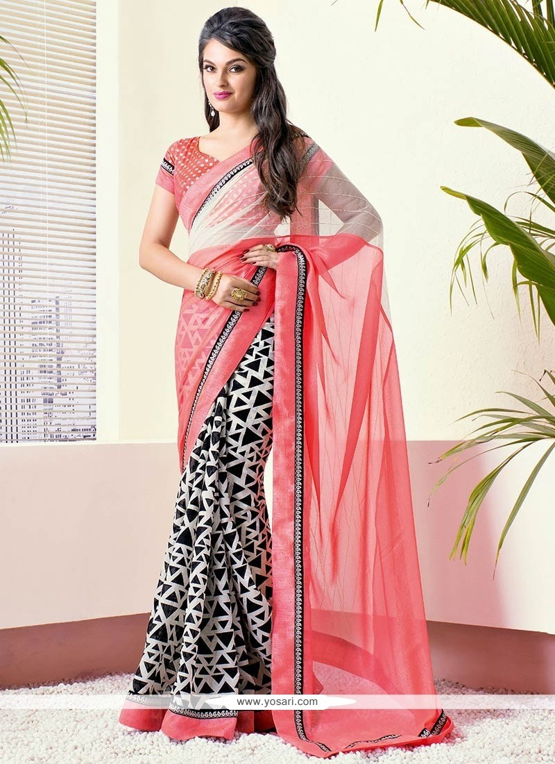 Off White And Pink Faux Chiffon Saree