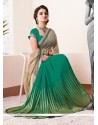 Eyeful Green And Beige Shaded Chiffon Half And Half Saree