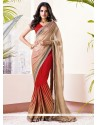 Beige And Red Faux Chiffon Half And Half Saree