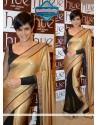 Mandira Bedi Style Black And Gold Stain Saree