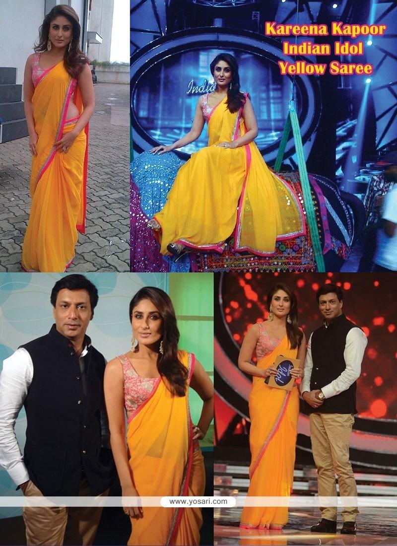 Kareena Kapoor Faux Georgette Yellow Saree