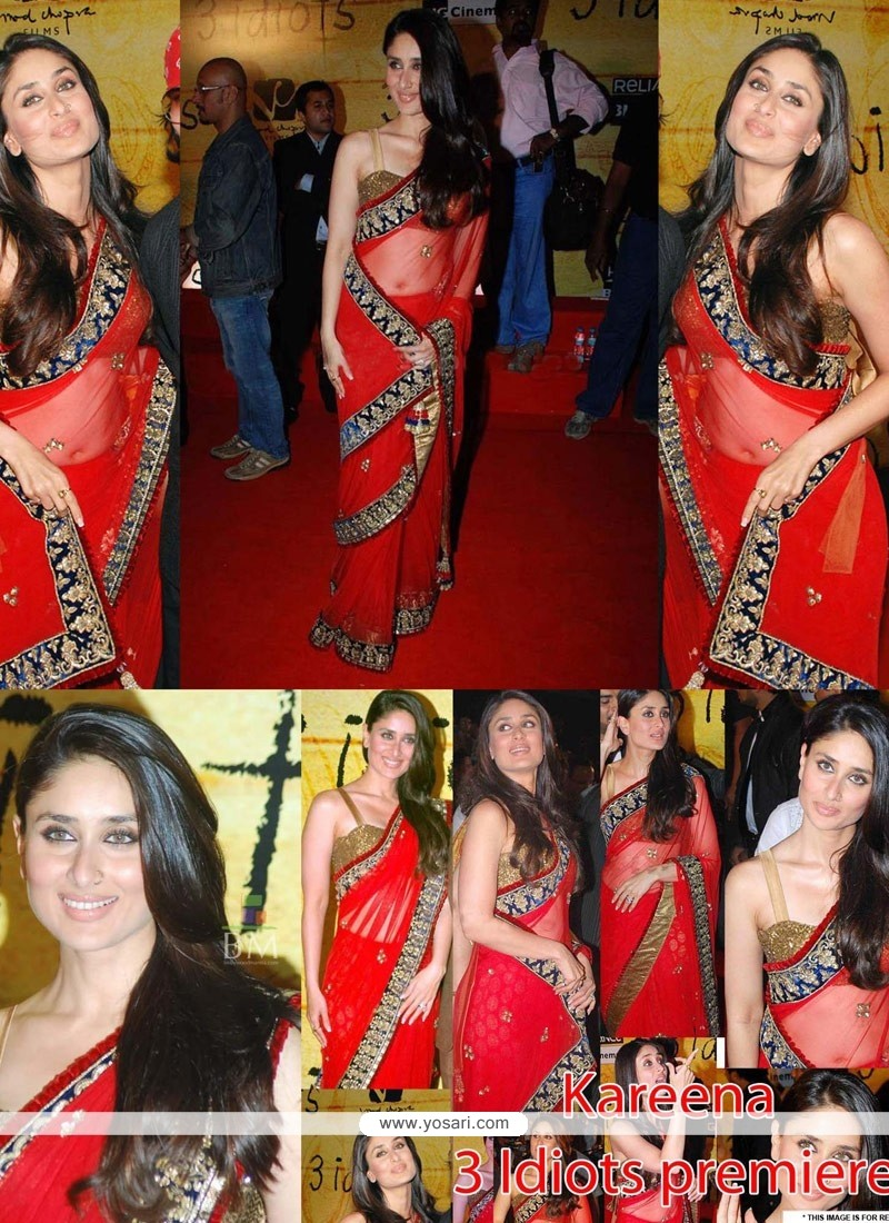 Kareena Kapoor Red Net Saree