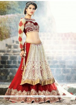 Off White And Red Net Designer Lehenga Choli