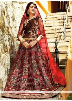Dazzling Maroon Net Wedding Lehenga Choli