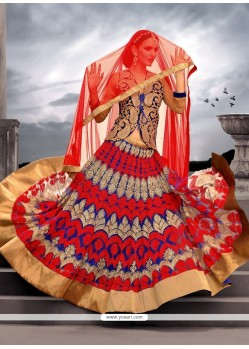 Awesome Red And Blue Net Designer Lehenga Choli