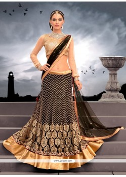 Alluring Black Zari Work Net Lehenga Choli