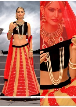 Cream And Red Resham Work Lehenga Choli
