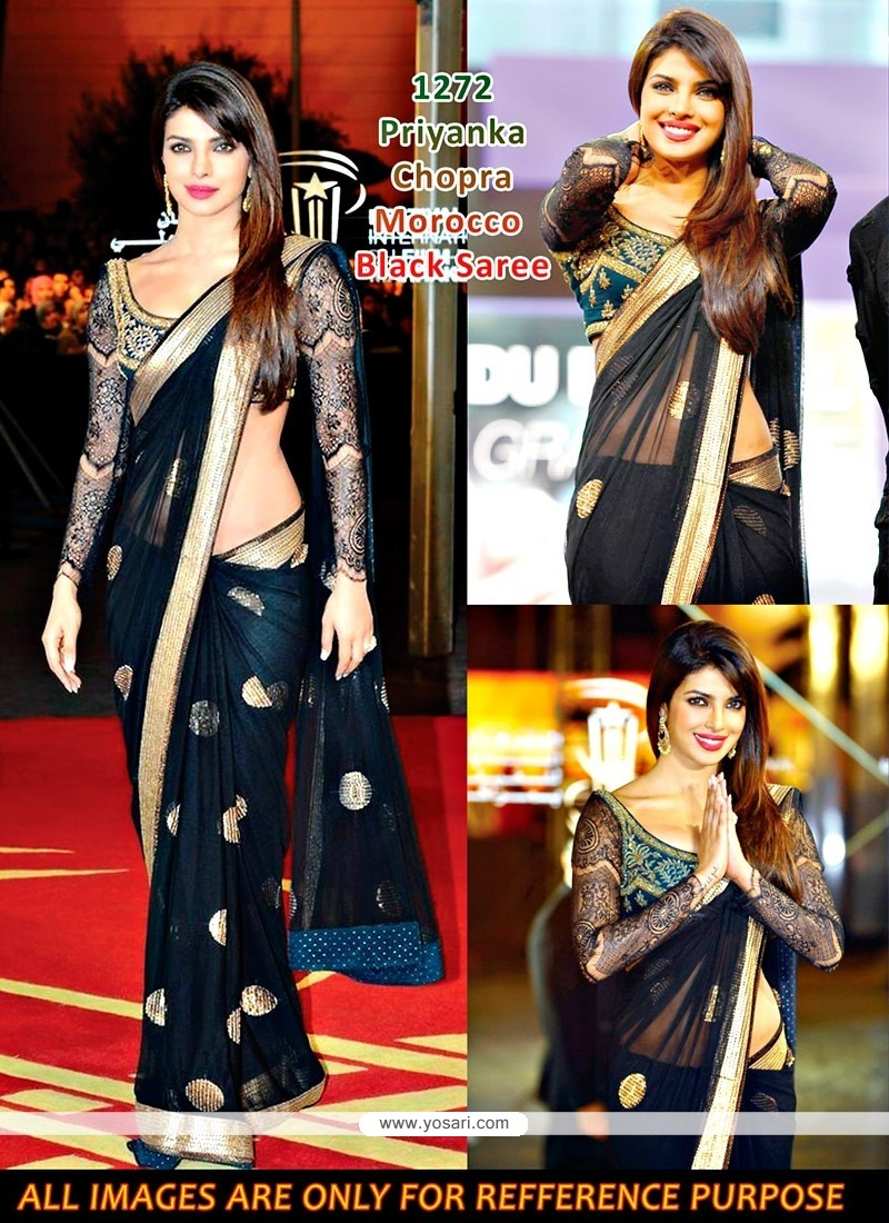 Priyanka Chopra Black Net Saree