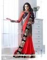 Red And Brown Shaded Satin Chiffon Designer Saree