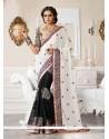 Off White And Black Jacquard Resham Designer Saree