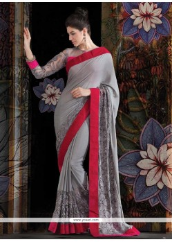 Decent Charismastic Grey Faux Georgette Saree
