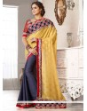 Blue And Yellow Jacquard Designer Saree