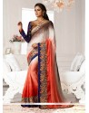 Orange And Brown Shaded Jacquard Designer Saree
