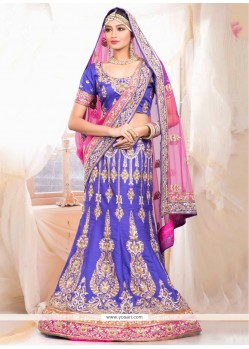 Pleasant Blue Raw Silk Designer Lehenga Choli