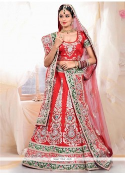 Stunning Red Raw Silk Wedding Lehenga Choli