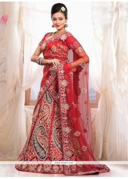Amazing Red Net Wedding Lehenga Choli