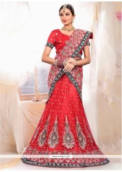 Embellished Red Net Bridal Lehenga Choli