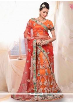 Miraculous Orange Net Bridal Lehenga Choli