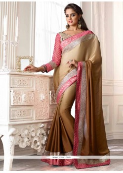 Genius Brown Shaded Faux Chiffon Party Wear Saree