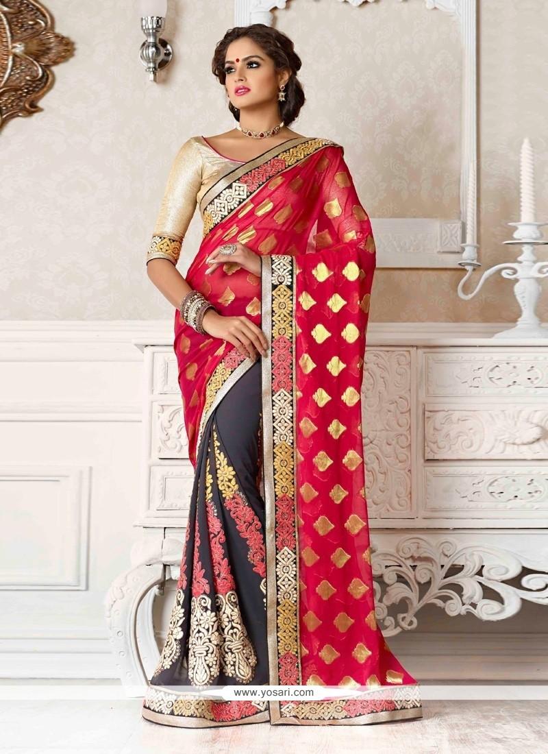 Flawless Grey And Pink Viscose Designer Saree