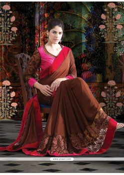 Lustrous Coffee Brown Shade Faux Georgette Saree