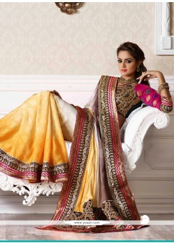 Off White And Yellow Shaded Embroidery Creap Designer Saree