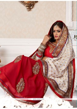 Fascinating Red Faux Georgette Wedding Saree