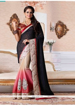 Black And Cream Shaded Zari Viscose Designer Saree