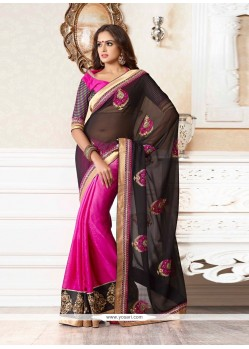 Eyeful Black And Pink Faux Georgette Designer Saree