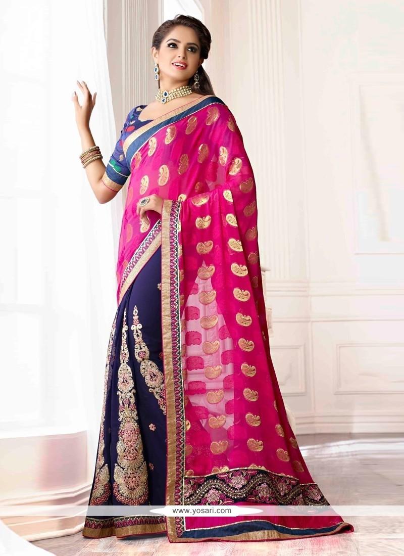 Blue And Pink Viscose Chiffon Designer Saree
