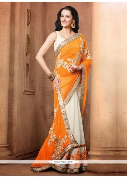 Off White And Orange Chiffon Zari Designer Saree