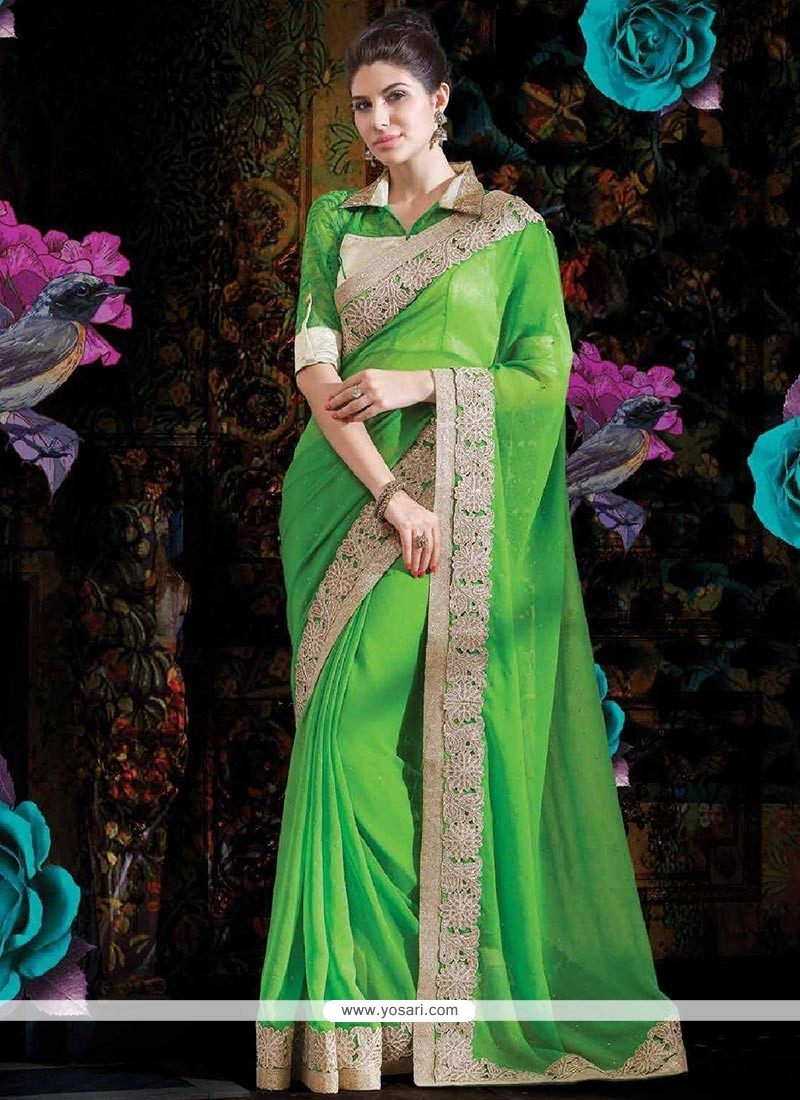 Flawless Parrot Green Faux Georgette Saree