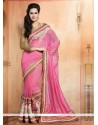 Competent Pink Pure Silk Designer Saree