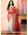 Asthetic White And Red Net Designer Saree