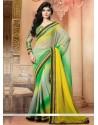 Green And Yellow Shaded Chiffon Designer Saree