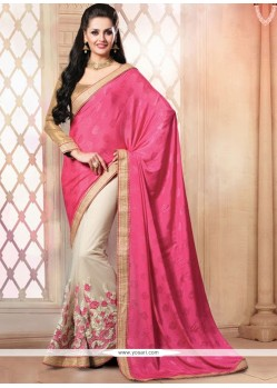 Pink And Cream Pure Chiffon Designer Saree