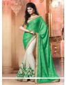 Green And Cream Pure Chiffon Designer Saree