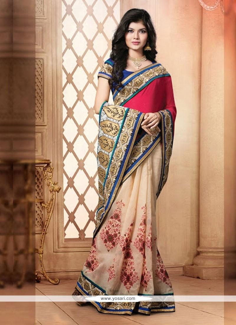 Red And Cream Cotton Pallu Designer Saree