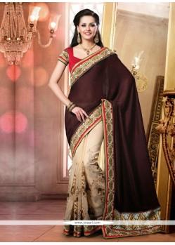 Wine And Cream Cotton Embroidery Designer Saree