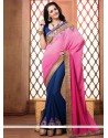 Hot Pink And Blue Embroidery Georgette Designer Saree