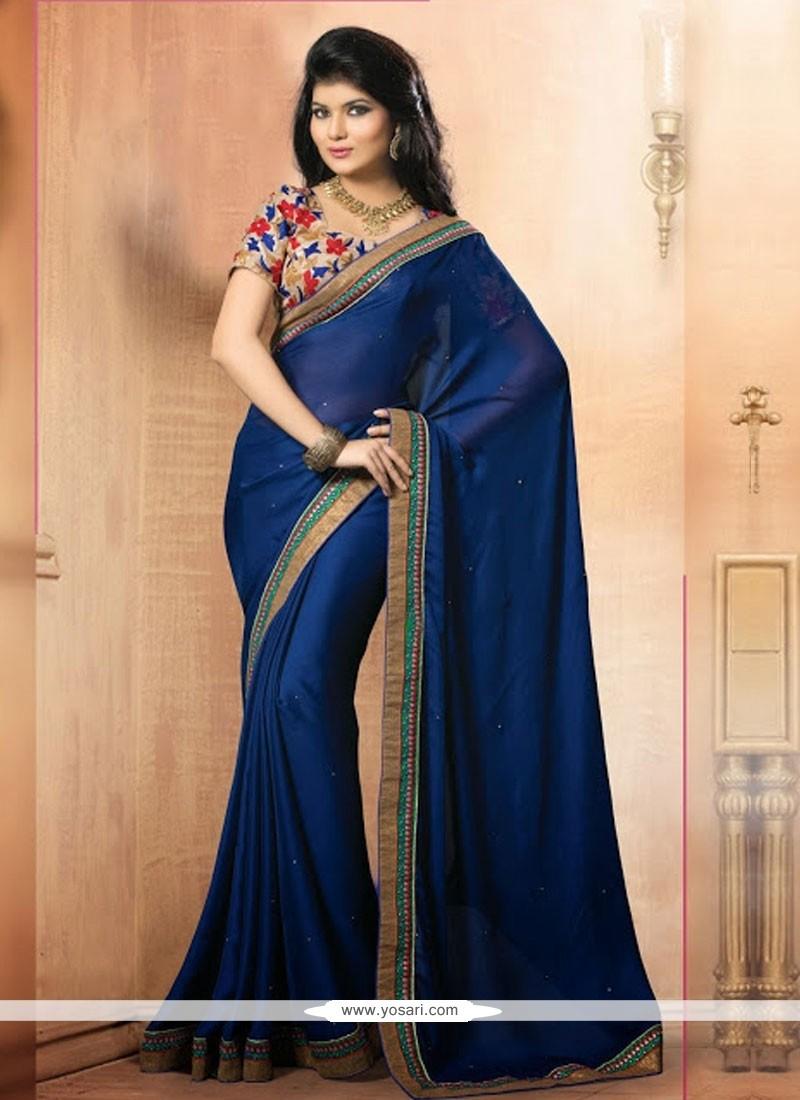Imperial Blue Satin Chiffon Casual Saree