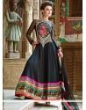 Lovely Black Georgette Resham Anarkali Suits