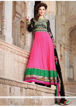 Hot Pink And Black Georgette Anarkali Suits