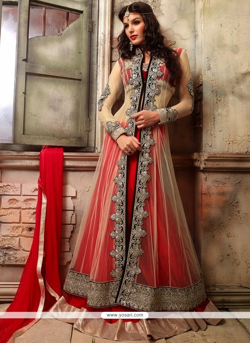 Delightful Red And Cream Net Georgette Anarkali Suits
