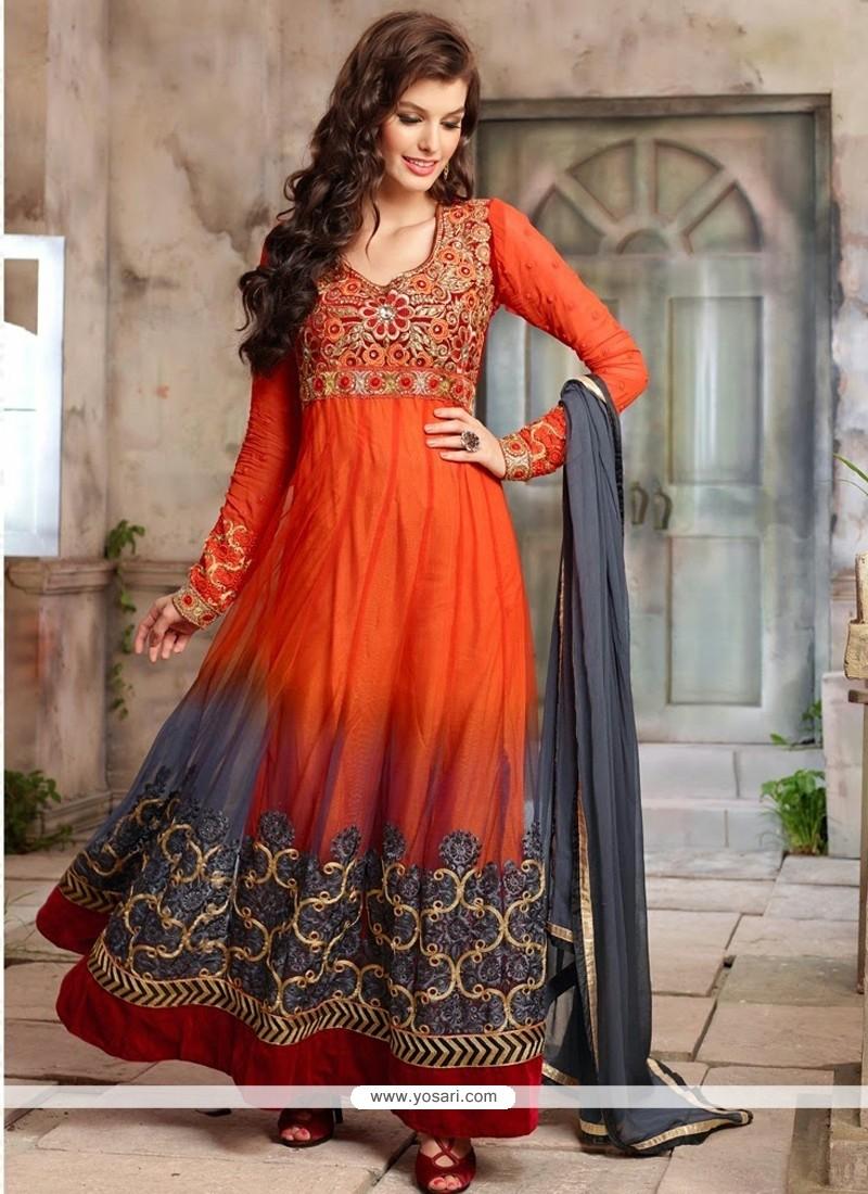 Breathtaking Orange And Grey Net Anarkali Suits