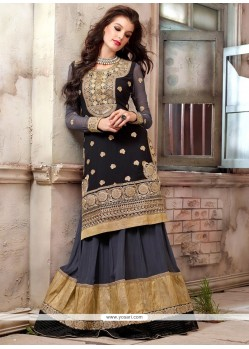 Asthetic Black And Grey Georgette Anarkali Suits