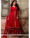 Lovely Red Velvet Georgette Anarkali Salwar Suit