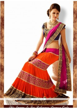Sterling Hot Pink And Orange Lehenga Saree